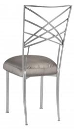 Silver Fanfare with Charcoal Taffeta Boxed Cushion