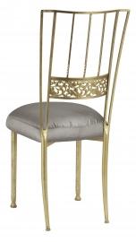 Gold Bella Fleur with Charcoal Taffeta Boxed Cushion