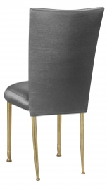 Charcoal Taffeta Chair Cover and Boxed Cushion on Gold Legs