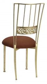 Gold Bella Fleur with Cognac Suede Cushion