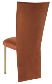 Cognac Suede Jacket and Cushion on Gold Legs