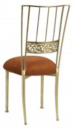 Gold Bella Fleur with Copper Suede Cushion