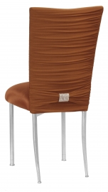 Chloe Copper Stretch Knit Chair Cover with Rhinestone Accent Band and Cushion on Silver Legs