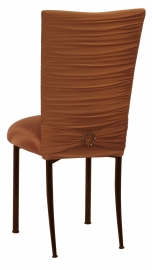 Chloe Copper Stretch Knit Chair Cover with Jewel Belt and Cushion on Brown Legs