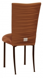 Chloe Copper Stretch Knit Chair Cover with Rhinestone Accent Band and Cushion on Brown Legs