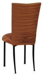 Chloe Copper Stretch Knit Chair Cover with Jewel Band and Cushion on Black Legs