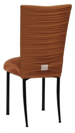 Chloe Copper Stretch Knit Chair Cover with Rhinestone Accent Band and Cushion on Black Legs
