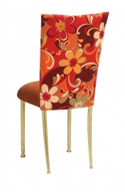 Groovy Suede Chair Cover with Copper Suede Cushion on Gold Legs