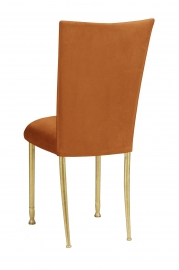 Copper Suede Chair Cover and Cushion on Gold Legs