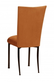 Copper Suede Chair Cover and Cushion on Brown Legs