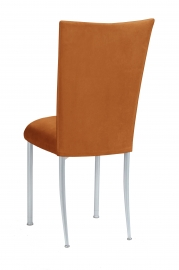 Copper Suede Chair Cover and Cushion on Silver Legs