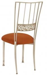 Ivory Bella Fleur with Copper Stretch Knit Cushion