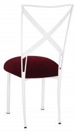 Simply X White with Cranberry Velvet Cushion