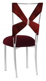 Cranberry Velvet Criss Cross with Rhinestone Accent and Cushion on Silver Legs