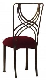 Bronze La Corde with Cranberry Velvet Cushion