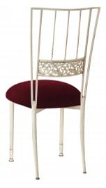 Ivory Bella Fleur with Cranberry Velvet Cushion