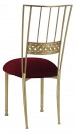 Gold Bella Braid with Cranberry Velvet Cushion