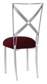 Silver Simply X with Cranberry Velvet Cushion