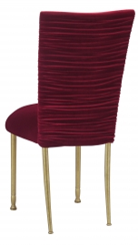 Chloe Cranberry Velvet Chair Cover and Cushion on Gold Legs