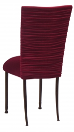 Chloe Cranberry Velvet Chair Cover and Cushion on Mahogany Legs