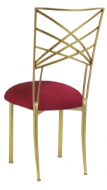 Gold Fanfare with Cranberry Stretch Knit Cushion