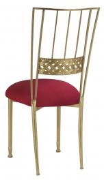 Gold Bella Braid with Cranberry Stretch Knit Cushion