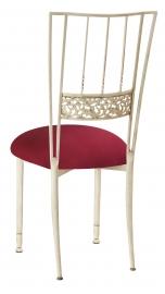 Ivory Bella Fleur with Cranberry Stretch Knit Cushion
