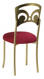 Gold Fleur de Lis with Cranberry Stretch Knit Cushion