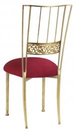 Gold Bella Fleur with Cranberry Stretch Knit Cushion
