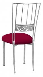 Silver Bella Fleur with Cranberry Stretch Knit Cushion