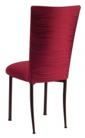 Chloe Cranberry Stretch Knit Chair Cover and Cushion on Brown Legs