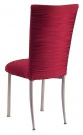 Chloe Cranberry Stretch Knit Chair Cover and Cushion on Silver Legs