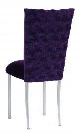 Aubergine Circle Ribbon Taffeta Chair Cover with Eggplant Velvet Cushion on Silver Legs