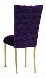 Aubergine Circle Ribbon Taffeta Chair Cover with Eggplant Velvet Cushion on Gold Legs