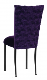 Aubergine Circle Ribbon Taffeta Chair Cover with Eggplant Velvet Cushion on Black Legs