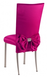 Fuchsia Satin Chair Cover with Bow Belt and Cushion on Silver Legs