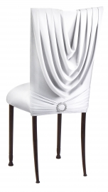 White Cowl with Jeweled Band and White Stretch Knit Cushion on Mahogany Legs
