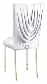 White Cowl with Jeweled Band and White Stretch Knit Cushion on Ivory Legs