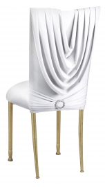 White Cowl with Jeweled Band and White Stretch Knit Cushion on Gold Legs