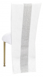 White Suede Jacket with Rhinestone Center and Cushion on Gold Legs