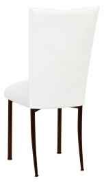 White Leatherette Chair Cover and Cushion on Brown Legs