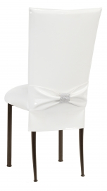White Patent Chair Cover and Rhinestone Belt with White Stretch Knit Cushion on Brown Legs