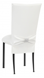 White Patent Chair Cover and Rhinestone Belt with White Stretch Knit Cushion on Black Legs