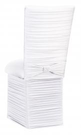 Chloe White Stretch Knit Chair Cover with Rhinestone Accent Band