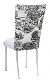 White Swirl Velvet Chair Cover with White Suede Cushion on Silver Legs