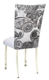 White Swirl Velvet Chair Cover with White Suede Cushion on Ivory Legs