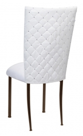 White Diamond Tufted Taffeta Chair Cover with White Suede Cushion on Brown Legs