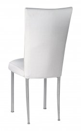 White Linette Chair Cover and Cushion on Silver Legs