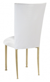White Croc Chair Cover with White Stretch Knit Cushion on Gold Legs