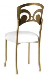 Gold Fleur de Lis with White Leatherette Cushion
